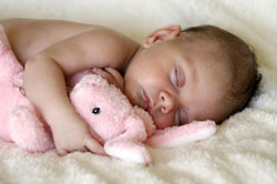 Infant with stuffed animal
